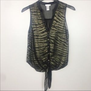 Cache Tiger Stripe Tie Top